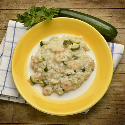 risotto con zucchine e gamberi